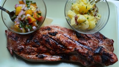 Spectrum Seasonal: Grilled Pork Tenderloin with Grilled Peach Salsa and Simple Potato Salad