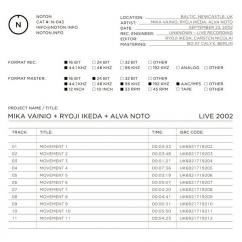 Mika Vainio + Ryoji Ikeda + Alva Noto: Live 2002